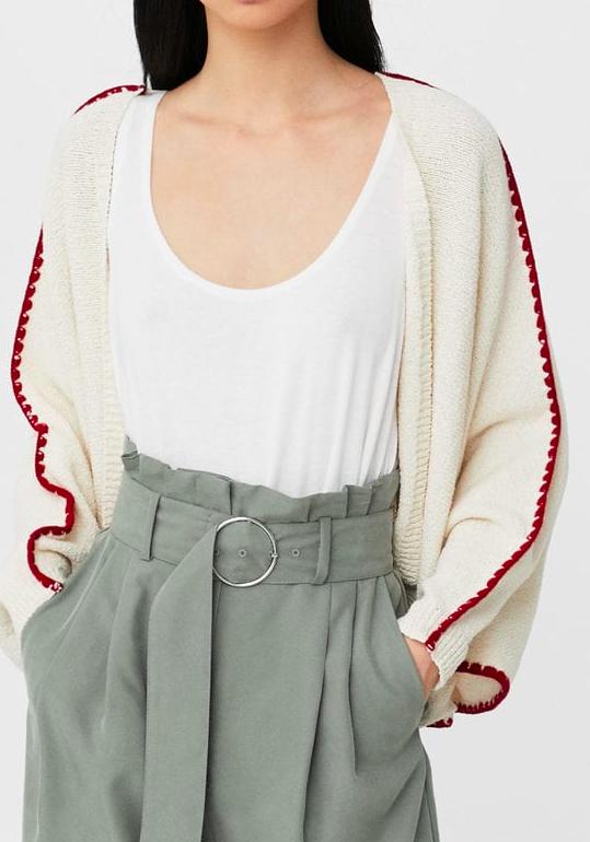 Mango Contrast-trim cotton cardigan