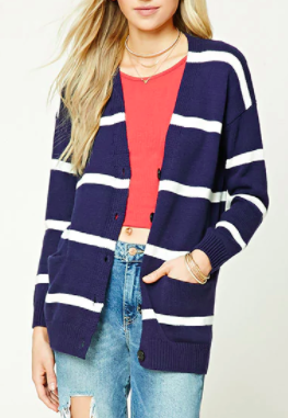 Forever 21 Stripe Ribbed Knit Cardigan