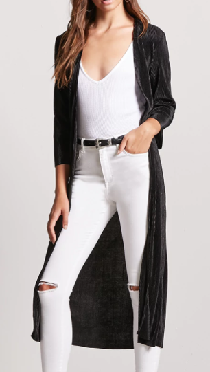 Forever 21 Pleated Satin Duster Cardigan