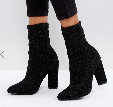 Glamorous Black High Sock Heeled Ankle Boots
