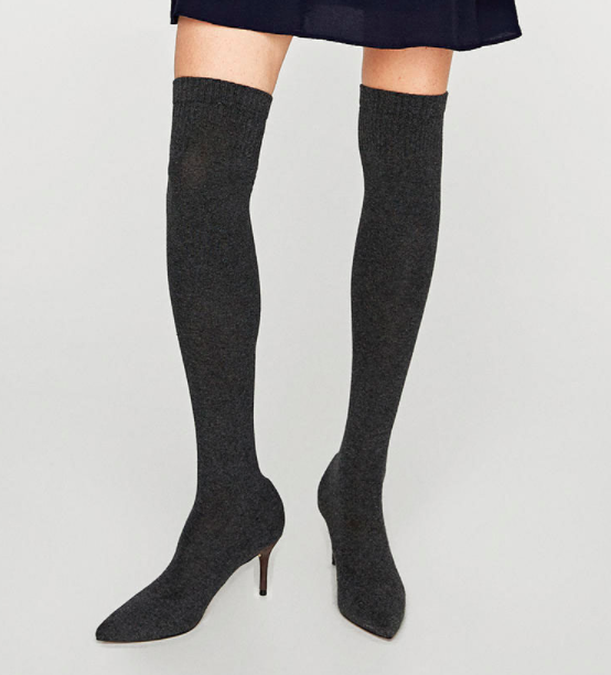Zara OVER THE KNEE ELASTIC HIGH HEEL BOOTS