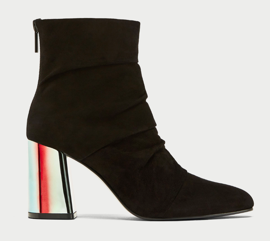 Zara LEATHER ANKLE BOOTS WITH SHIMMERY HEEL