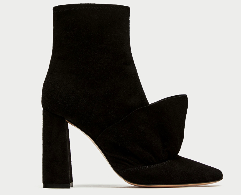 Zara RUFFLED HIGH HEEL LEATHER ANKLE BOOTS