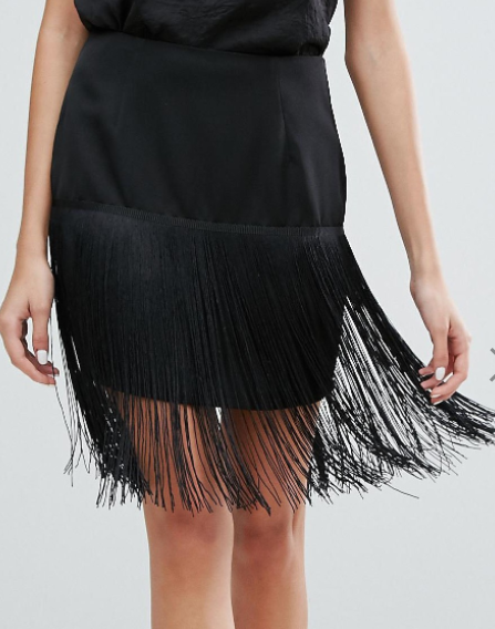 Zibi London Fringed Pencil Skirt