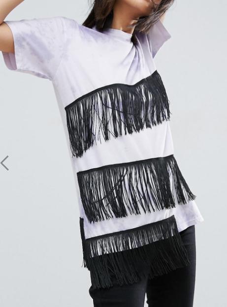 ASOS T-Shirt in Tie Dye with Fringe Detail