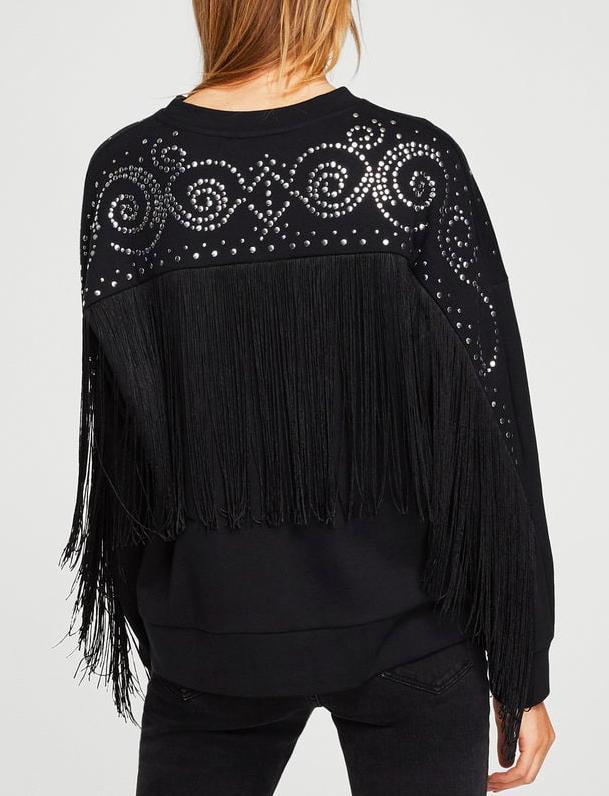 Mango Studded fringed sweater