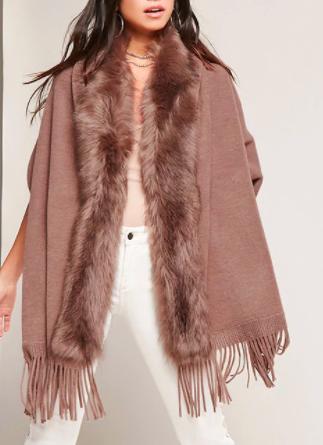 May Logan Faux Fur Trim Poncho