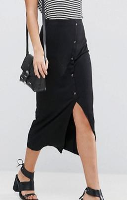 ASOS Rib Popper Midi Skirt