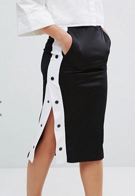Monki Side Popper Midi Skirt