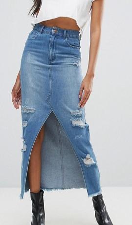 Boohoo Frayed Hem Midi Denim Skirt