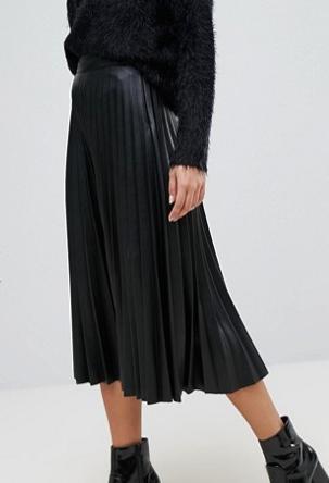 Stradivarius Leather Look Pleat Midi Skirt