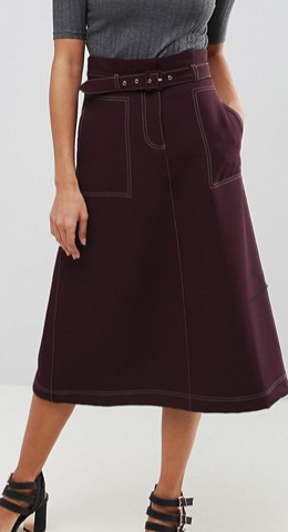 ASOS Tailored Midi Skirt With Contrast Stitching and Belt