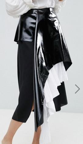 ASOS WHITE Vinyl Cotton Pleated Layered Midi Skirt