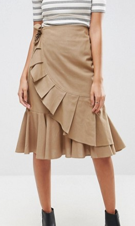 ASOS Midi Skirt in Twill with Frill Wrap Detail