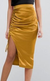 Lavish Alice Gold Satin Ruch Midi Skirt