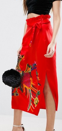 ASOS Embroidered Midi Skirt in Satin with Paperbag Tie Waist