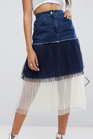 Boohoo Tulle And Denim Layered Skirt