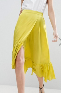 ASOS Skirt in Satin with Ruffle Hem