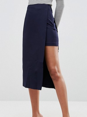 ASOS Tailored Double Layed Column Skirt With Button Detail