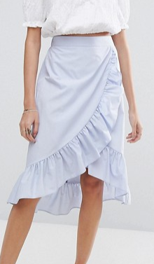 Miss Selfridge Ruffle Tie Waist Midi Skirt