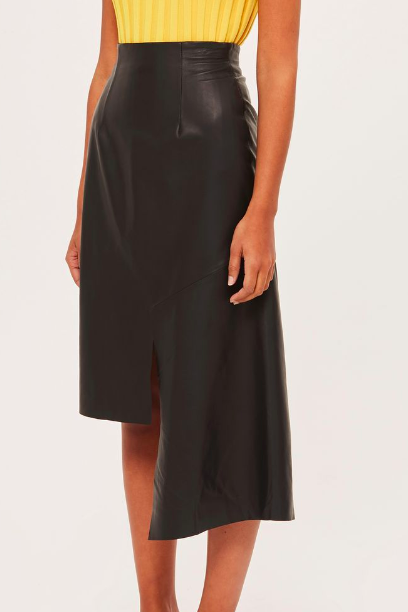 Topshop Stepped Hem Leather Midi by Boutique