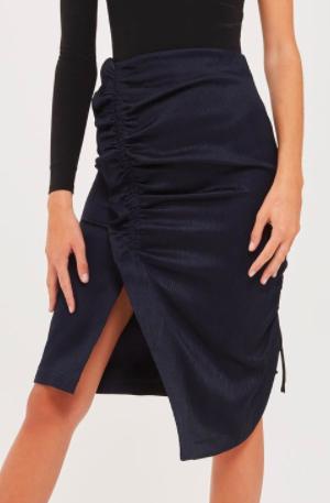Topshop Ruched Midi Skirt