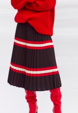 Mango Stripes pleated skirt