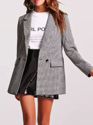 Forever 21 Oversized Double-Breasted Houndstooth Blazer