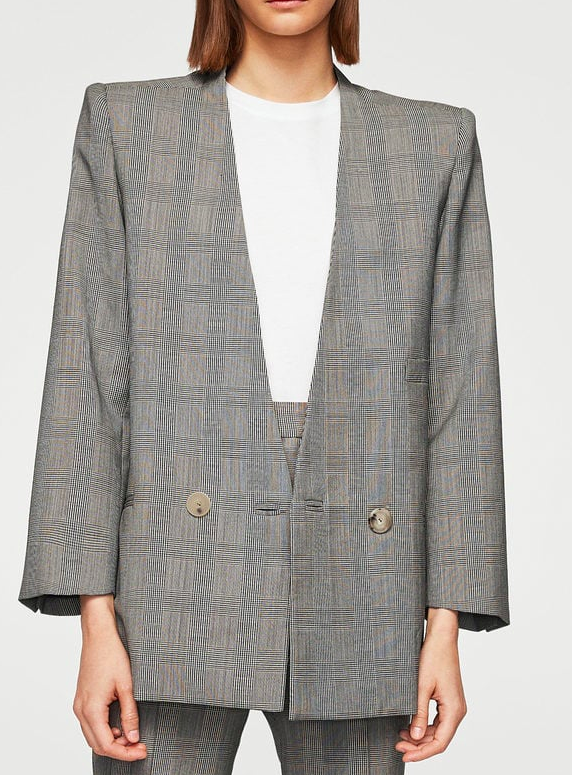 MANGO Check wool blazer