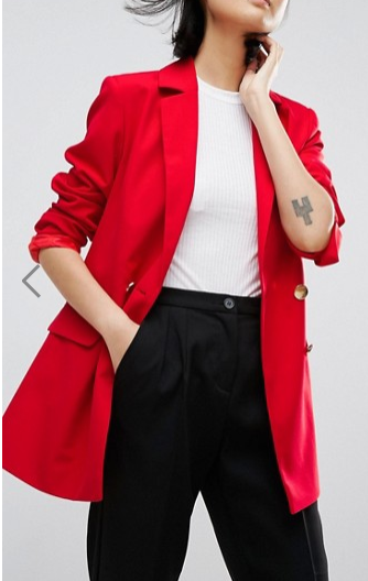ASOS Tailored Longline Blazer With Gold Buttons