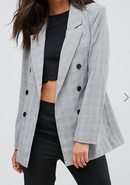 ASOS Fashion Union Tall Double Breasted Blazer In Check