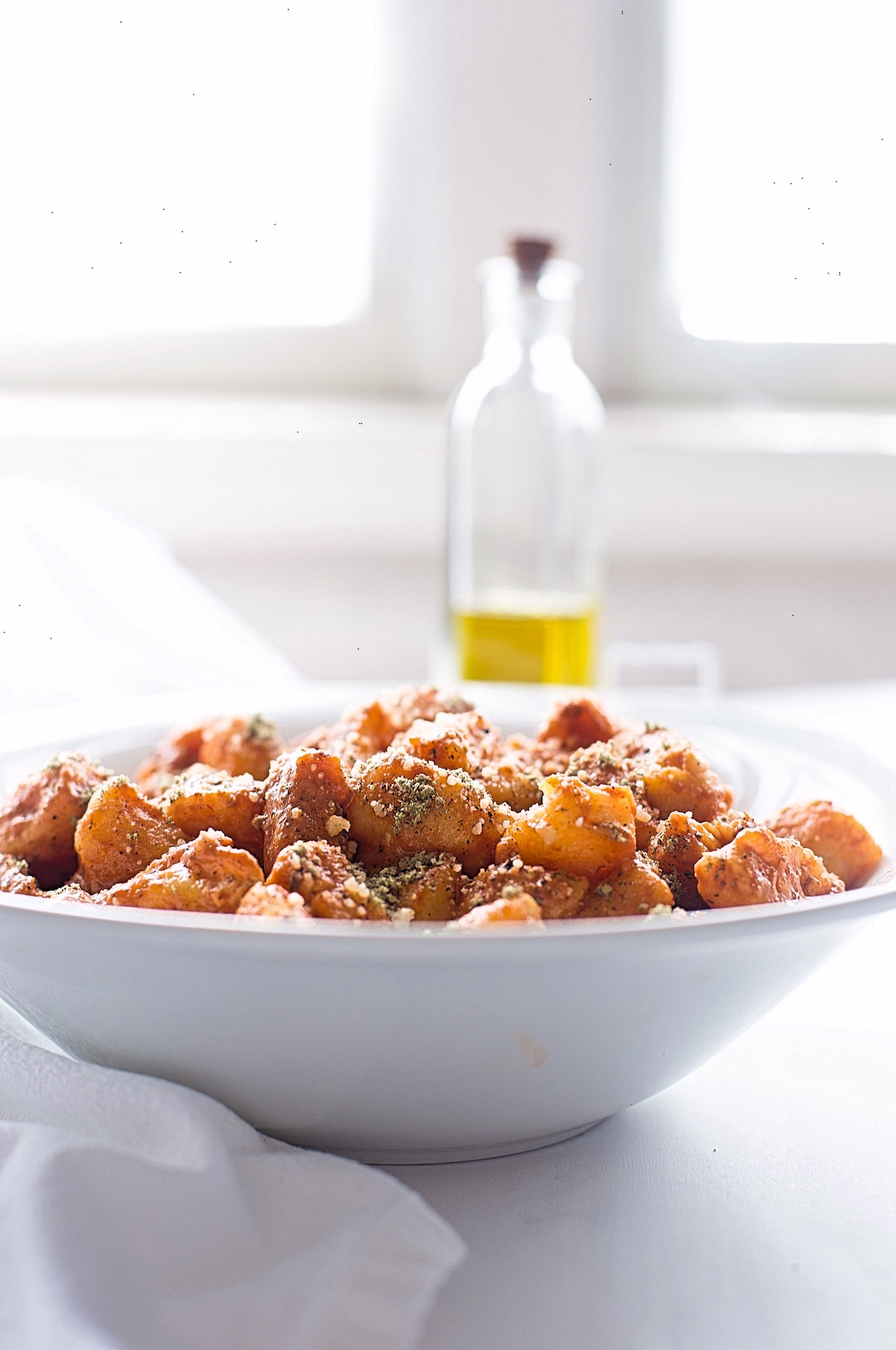 sweet potato gnocchi 6_.jpgSweet Potato Gnocchi with Tomato Cream Sauce: soft, pillowy, toasted sweet potato gnocchi in an easy tomato cream sauce. Best dinner!   TrufflesandTrends.com