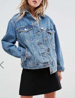 ASOS Denim Girlfriend Jacket in Midwash Blue