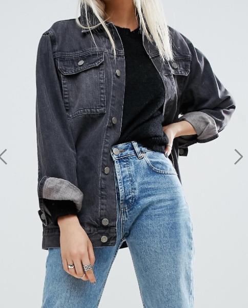 ASOS Denim Girlfriend Jacket in Washed Ozzy Black