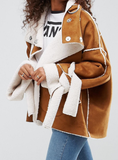 ASOS Faux Suede Jacket With Tie Cuffs