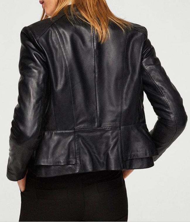 mango Pocket leather jacket