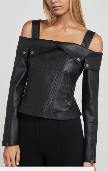 BCBG Clyde Faux-Leather Moto Jacket