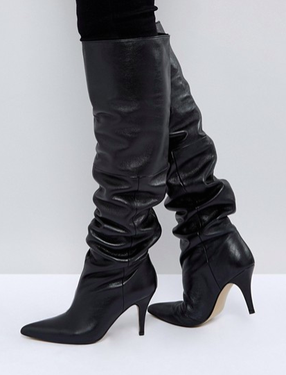 ASOS KLARA Leather Slouch Over The Knee Boots