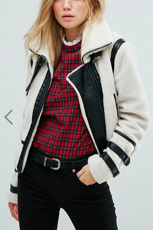 New Look Contrast Shearling Jacket