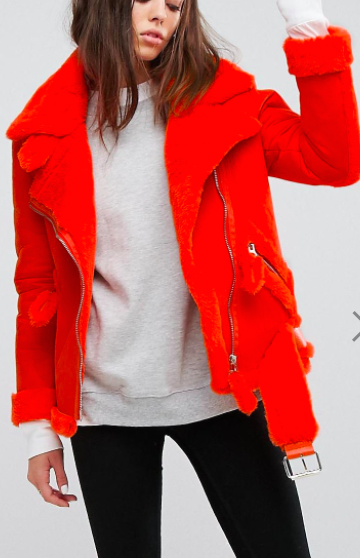 Story Of Lola Oversized Aviator Coat With Faux Shearling Lining