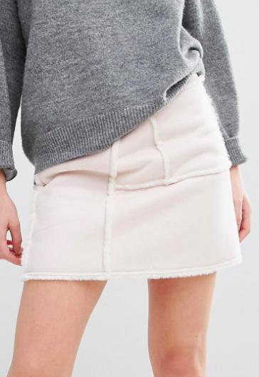 J.O.A Faux Shearling Mini Skirt