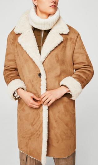 Mango Faux shearling lining coat