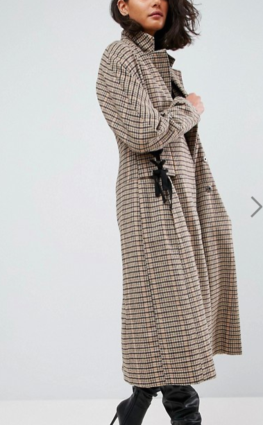 ASOS Check Coat with Corset Waist
