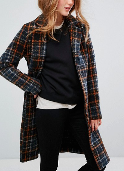Only Long Check Coat with Belt