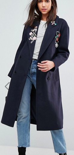 ASOS Slim Coat with Jewel and Embroidery Detail