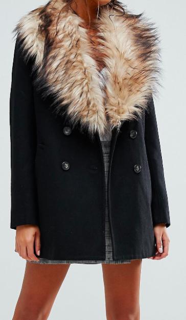 New Look Faux Fur Shawl Collar Coat
