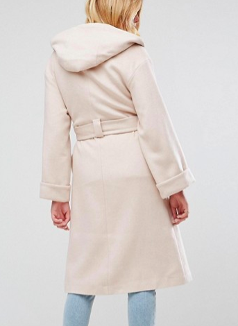 ASOS Hooded Belted Shawl Collar Coat