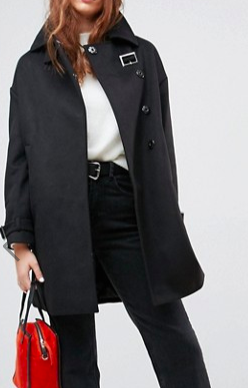 ASOS Oversized Coat with Buckle Funnel Neck