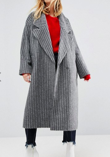 ASOS Coat with Extreme Collar in Pinstripe