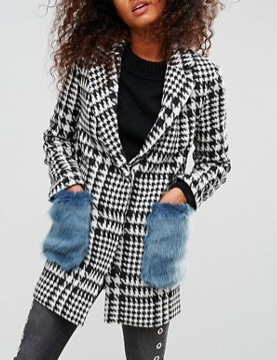 ASOS Coat in Check with Faux Fur Pockets